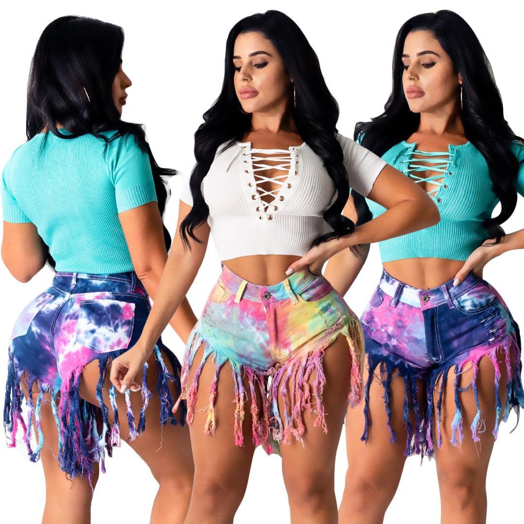 Sommer Frauen Jeans Quaste Schlankheits Bindung gefärbten Denim Frauen Jeans Shorts Frauen Designer-Jeans beiläufige Hosen S-3XL