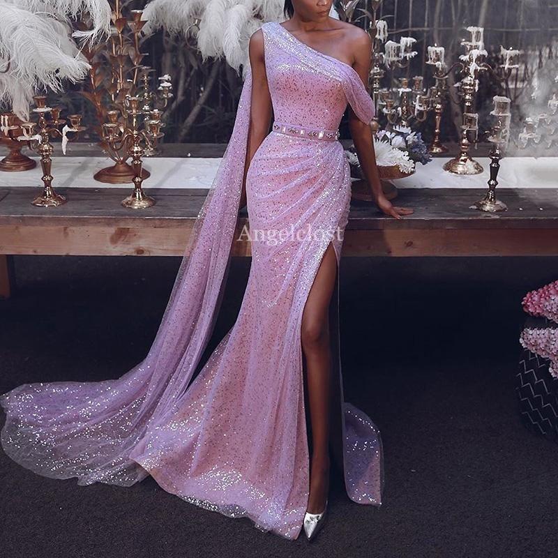 Shiny una spalla Split Prom laterale vestiti lunghi 2020 di colore rosa con paillettes partito convenzionale degli abiti di sera Mermaid Vestido de fiesta personalizzato