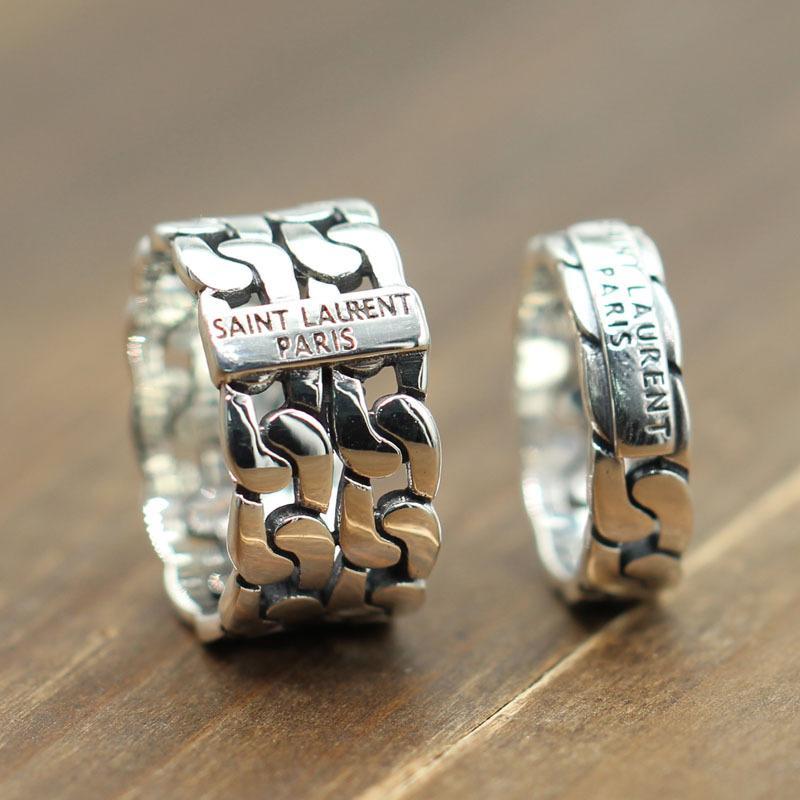 Anello coppia intrecciato traforato in stile europeo e americano in argento sterling 925 Anello retrò antico e semplice con sezione di marea KKA4784