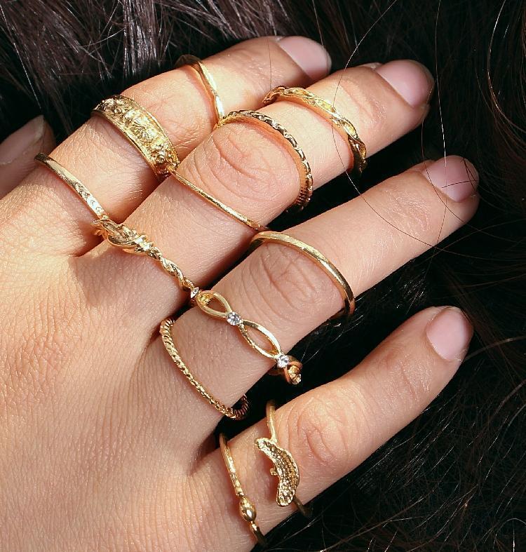 M MISM Moda 12 adet Kaplama Altın Vintage Parmak Yüzük Takı Aksesuarları Yüzükler Womens kızlar için Set