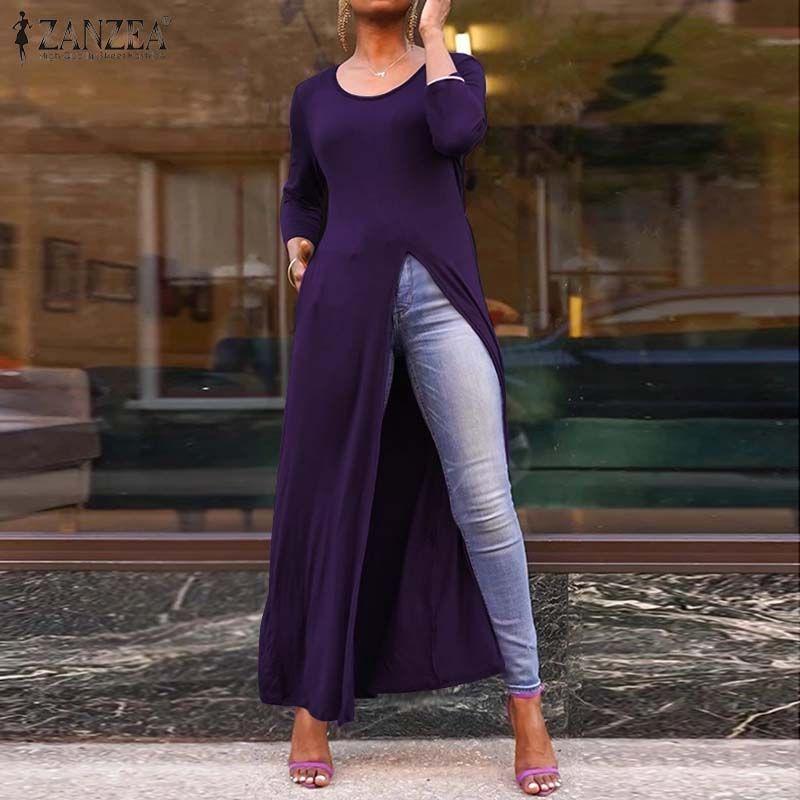 ZANZEA tapas de las mujeres y blusas 2019 de la alta manera Dividir las camisas largas de la manga 3/4 túnica Blusas Femininas bolsillos laterales ocasional de la camisa