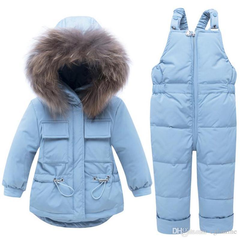 Neve vestiti del bambino Set con cappuccio Giù Cappotto invernale Tuta Boy inverno caldo del neonato tuta della neve di usura per i bambini