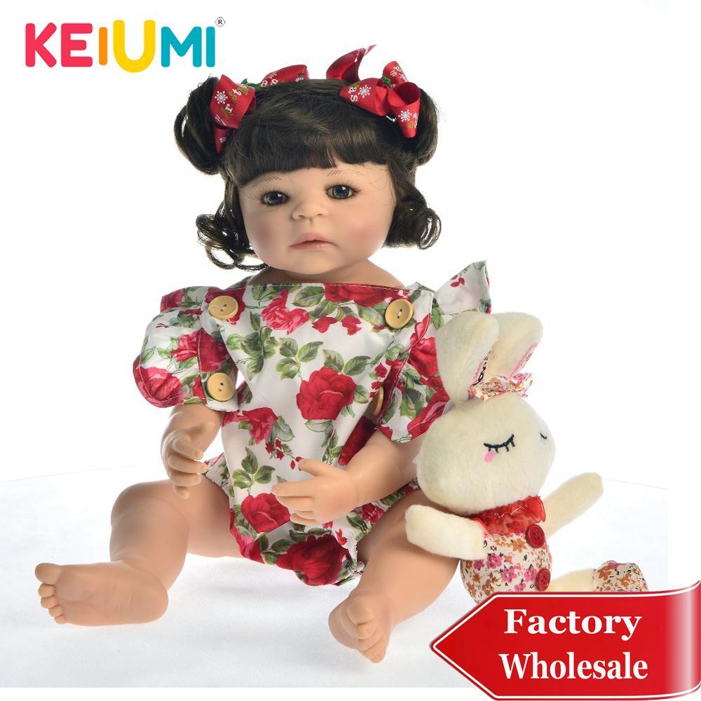 KEIUMI Hot Sale 22 '' Full silicone Réincarné Menina Boneca réaliste Poupée Princesse Mode bébé reborn 55 cm jouet pour enfants Playmates Y200111