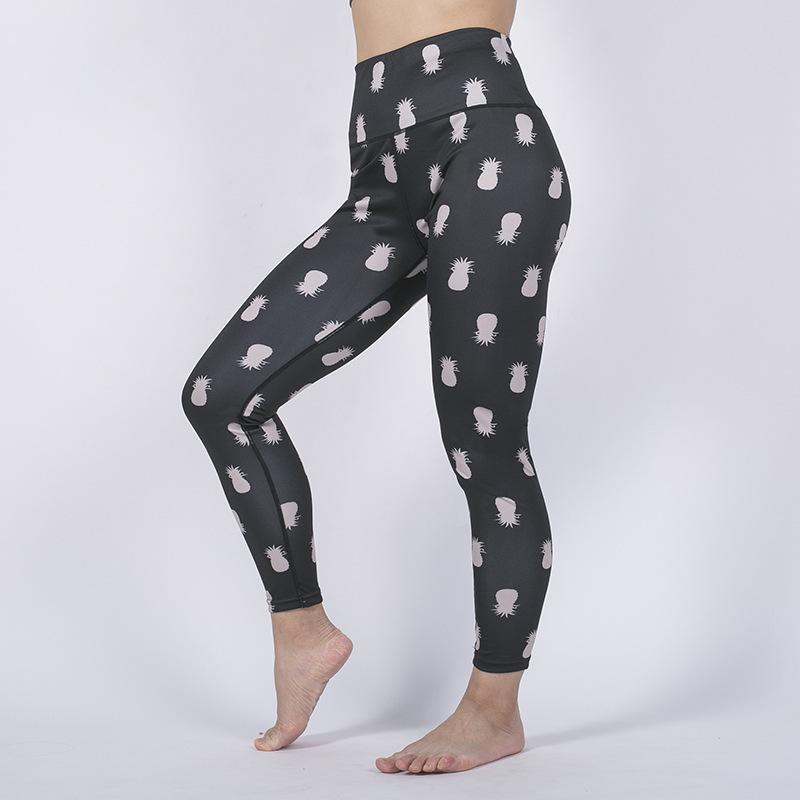 2019 Digital Printing abacaxi Yoga Pants de Fitness Pants Hip cintura alta Hit Cuecas Feminino