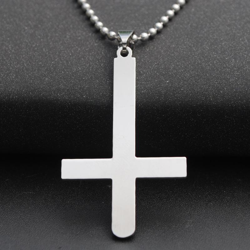 5pcs acero inoxidable inversa pino Cruz collar bendición joyería simple religión cristiana Jesús Fe suerte Collar