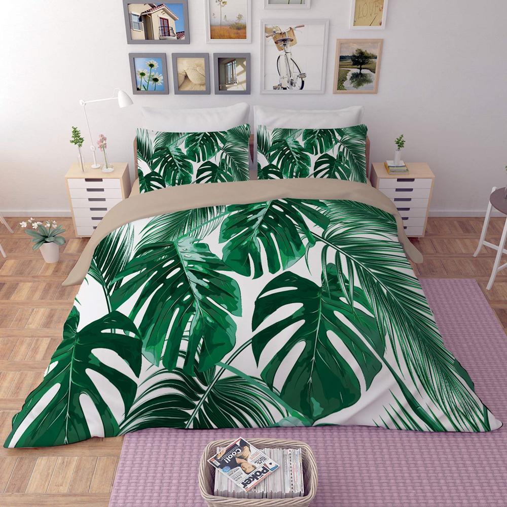 Yatak Seti Yaprak Bitki Nevresim ile Yastık kılıfı Tek İkiz Çift Tam Kraliçe Kral