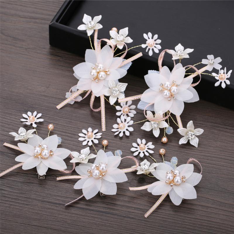 5 PCS Flower Hair Ornaments Sweet Bridal Hair Pins Jewelry For Girls Headpiece Wedding Dress Accessories Female Wedding Jewelry