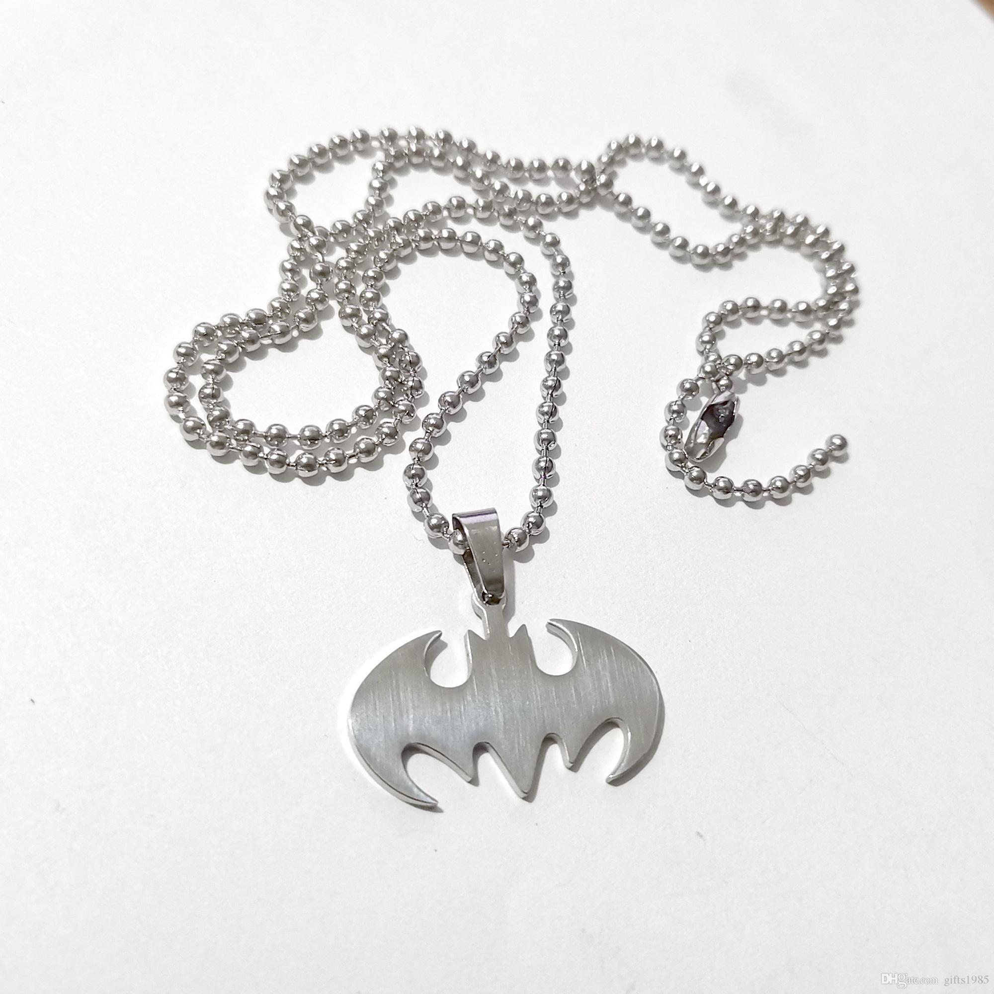 Gros héros en acier inoxydable The Batman Black Bat Logo Pendentif w boule collier 24 pouces livraison gratuite