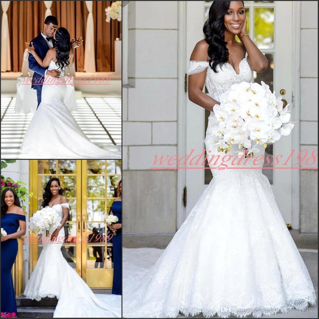 Taille exclusive plus Robes de Mariée 2020 sirène hors mariage épaule train africaine de mariée robe de mariée Pays Robes Robe de mariée