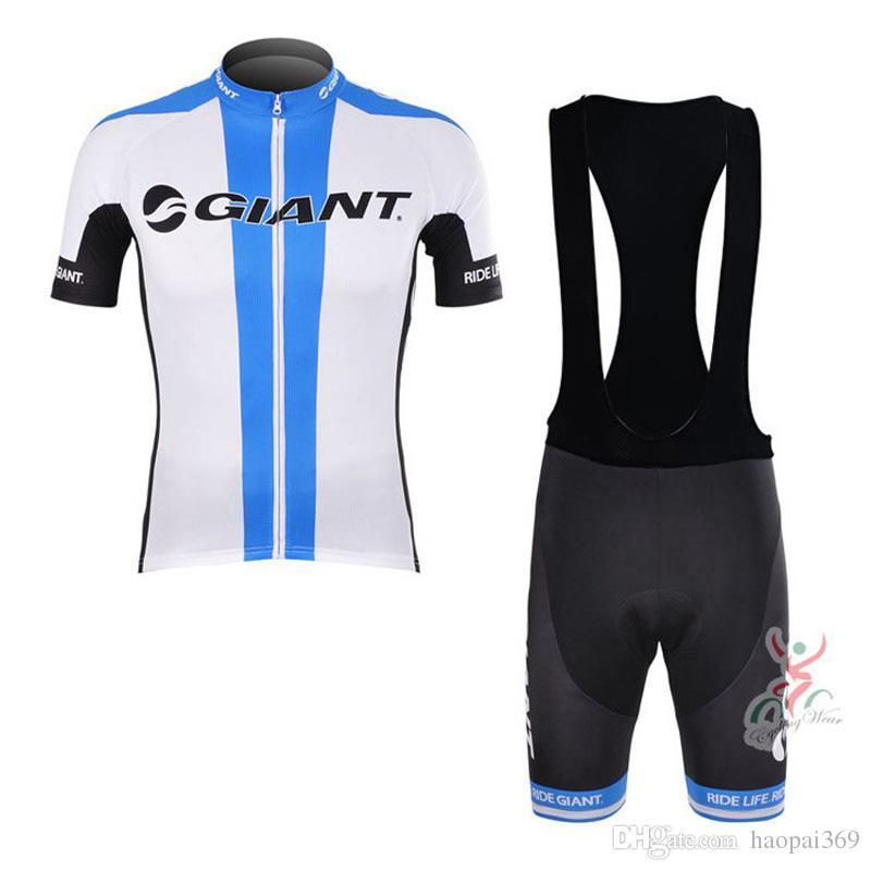 새로운 도착 GIANT 팀 사이클링 저지 남성 짧은 소매상의와 턱받이 반바지 여름 통기성 사이클링 의류 Q71083을 설정