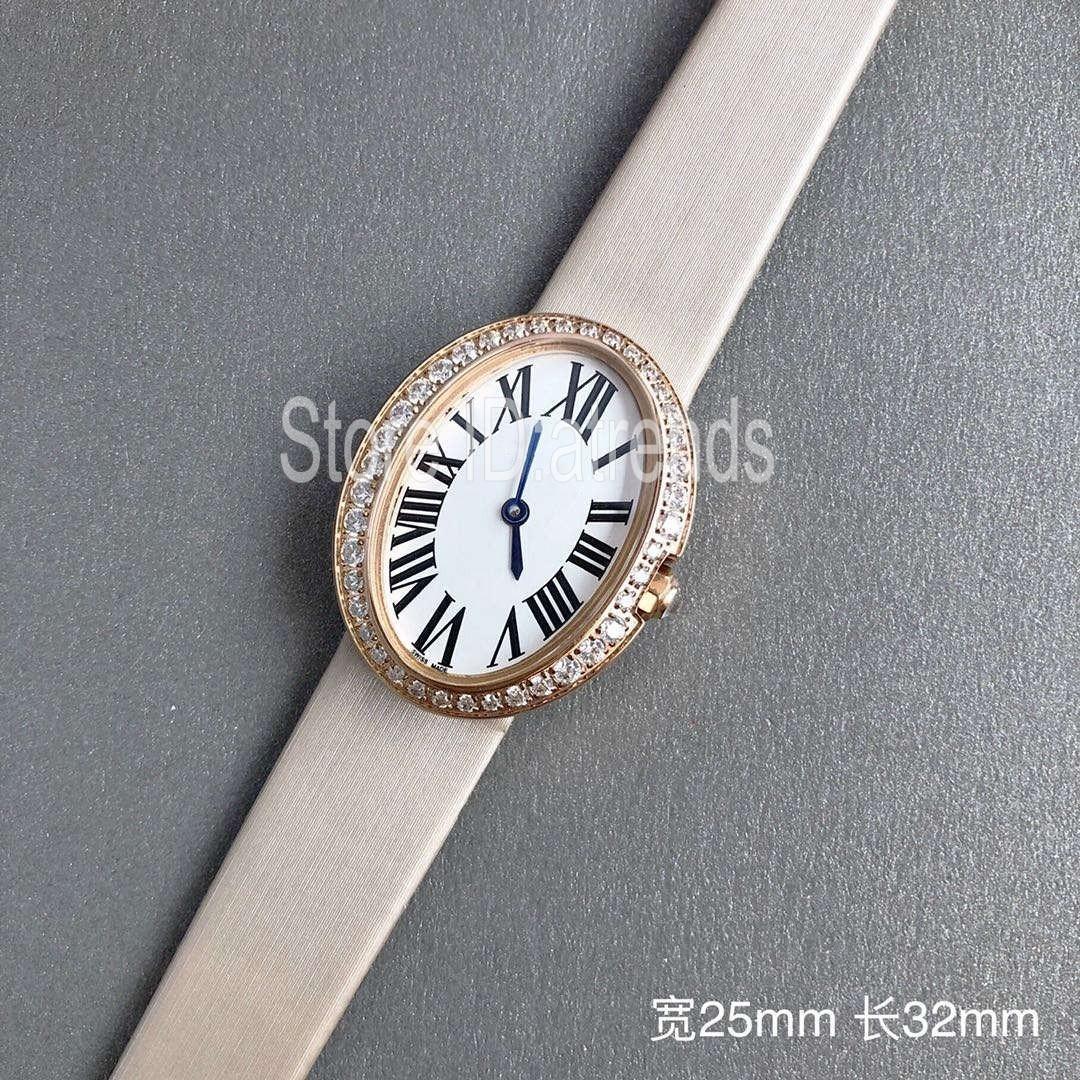 Nouveau Top Fashion Quartz Femmes Or Argent Cadran strass Lunette ovale design élégant causales Montre Femme avec bracelet en cuir Horloge 1908