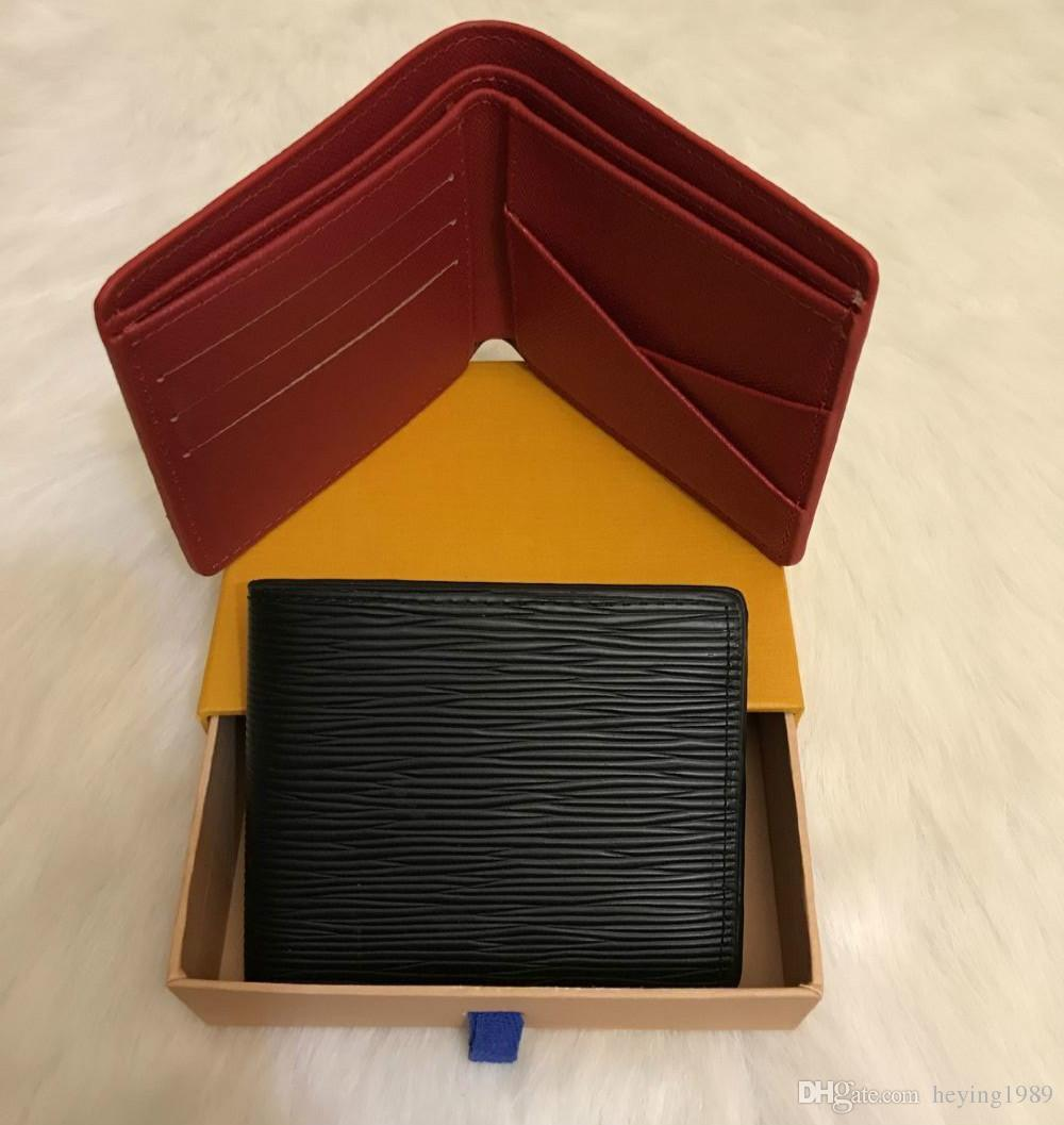 2019 con la scatola logo Paris Premium Red Snella Leather Wallet X Rosso Nero raccoglitore del cuoio genuino sacchetto esterno Sport