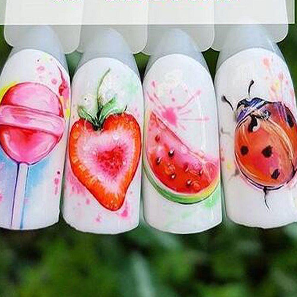 1pcs Strawberry Summer Fruit Bere Adesivi per le unghie Manicure Nail Art Design Acqua Trasferimento Acqua filigrana Decalcomanie di bellezza