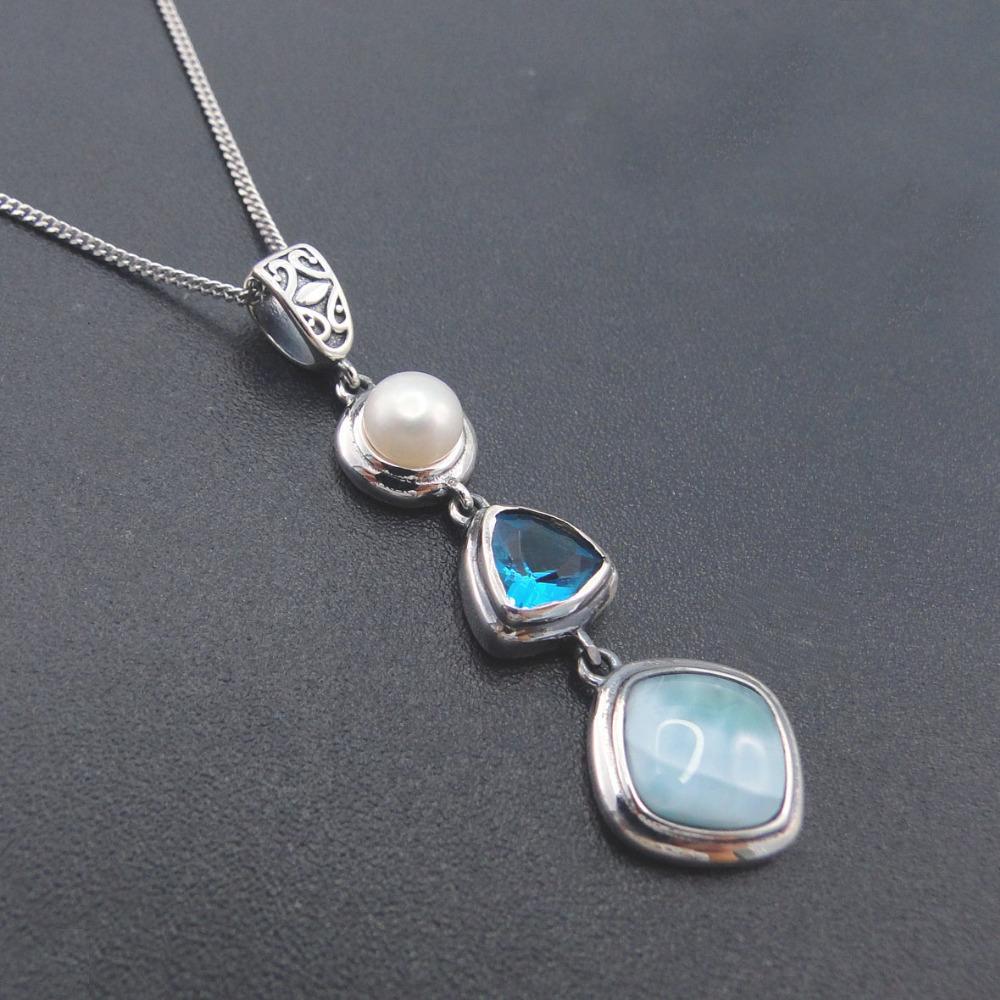 Collana Natural Design Larimar 925 argento antico topazio blu autentica pietra fascino della perla per il regalo delle donne