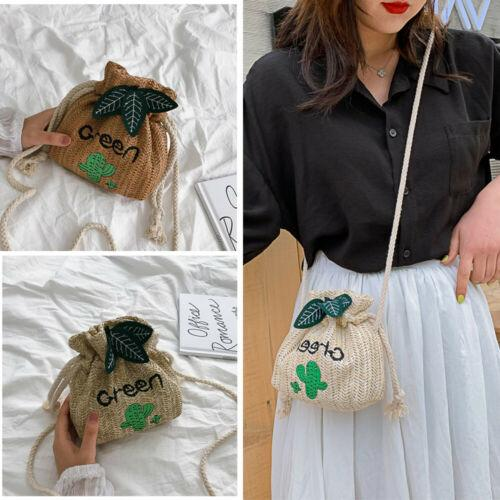Women Boho Woven Handbag Straw Rattan Wicker Drawstring Bag Beach Casual Clutch Knitted Messenger Crossbody Beach