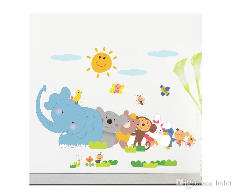 Happy animals Elephant Monkey wall sticker for kids room bedroom home decor DIY art background decals cute Cartoon Zoo stickers