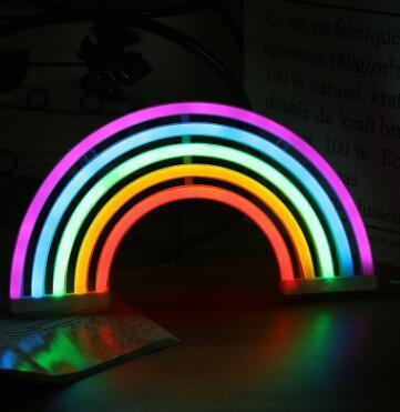 Acheter Enseigne Au Neon Mignon Arc En Ciel Led Arc En Ciel Lumiere Lampe Pour Decor De Dortoir Lampes Neon Decor Arc En Ciel Decoration Murale