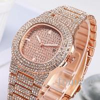 Negócios Quartz relógio dos homens Correia de aço inoxidável ouro ICE OUT Hip Hop Moda relógio dos homens de diamante