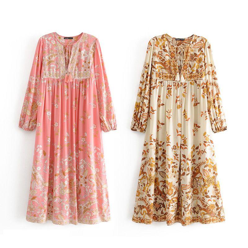 Women Floral Print Bohemian Beach Dresses 2020 Rayon Cotton Tassel Neck Long Sleeve Casual Long Dress Spring Summer Boho Holiday Maxi Dress