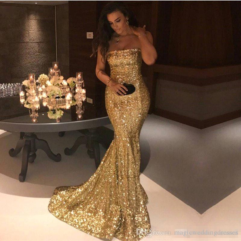 2018 Economici Sparkly Sexy lungo sirena Prom Dresses senza spalline Backless senza maniche oro argento con paillettes Sweep Train Abiti del partito Abiti formali