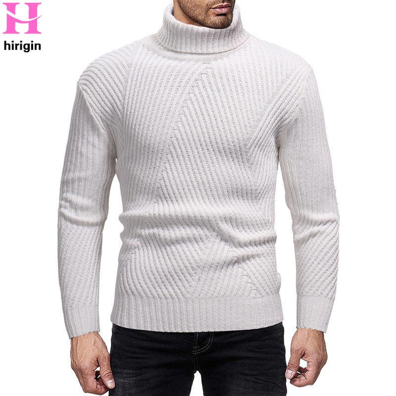 2019 Winter Men Slim Keep Warm Knitted High Neck Pullover Sweaters Jumper  Male Solid Sweater Top Turtleneck Plain Sweater Knitwear From Roberr,  $42.41