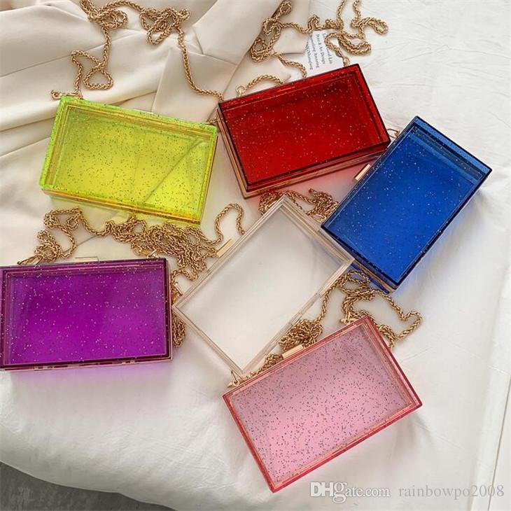 wholesale women handbag summer new transparent chain bag sweet candy-colored women shoulder bag personality transparent hard box fashion bag