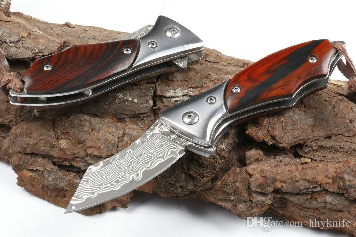 Top Quality Small Damascus Flipper Folding Knife VG10 Damascus Steel Blade Steel + Ebony Handle Ball Bearing EDC Knives