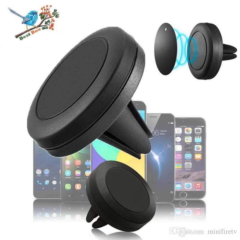 montaje del coche con el imán del coche universal magnético titular salida de aire del soporte del montaje de 360 rotaciones para IP X8 Smartphone Android con el paquete al por menor