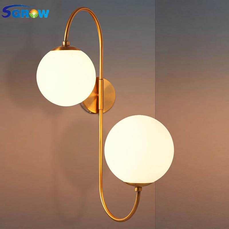 SGROW 실내 조명기구 유럽 창조적 인 보루 조명 침실 이닝 룸이 유리 공 전등 갓 벽 램프에 대한