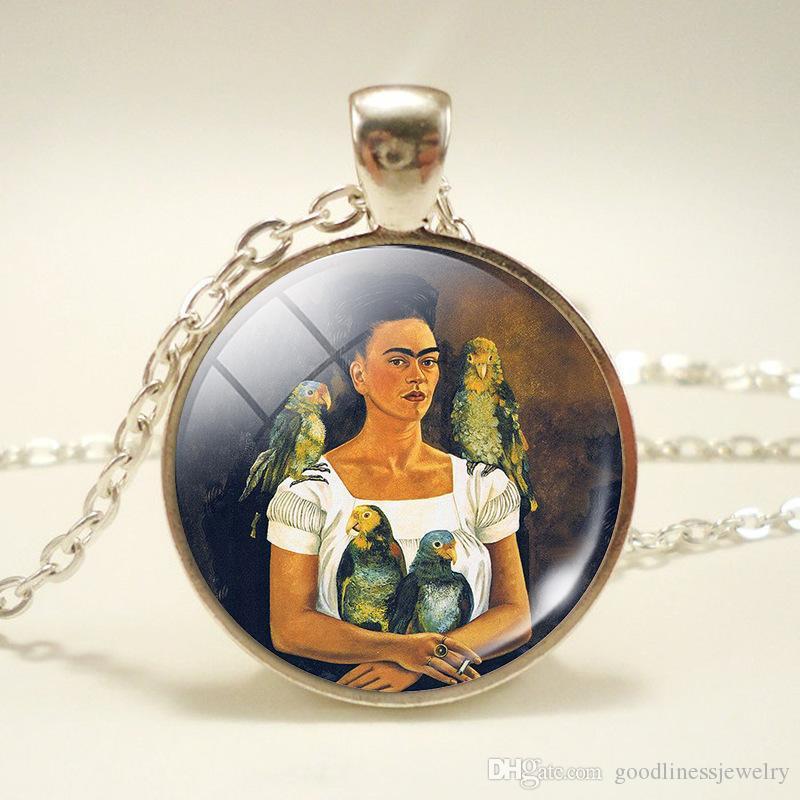 Cadeia Bronze Vintage colares longos Homens Mulheres Jóias Dome Pingente de vidro lindamente colares Jóias