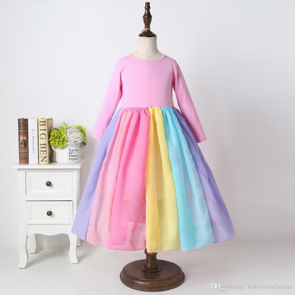 Toddler Baby Girl Lovely Colorful Tutu Dress Rainbow Striped Mesh Dresses Princess Party Dress Girls Clothes 1-6T