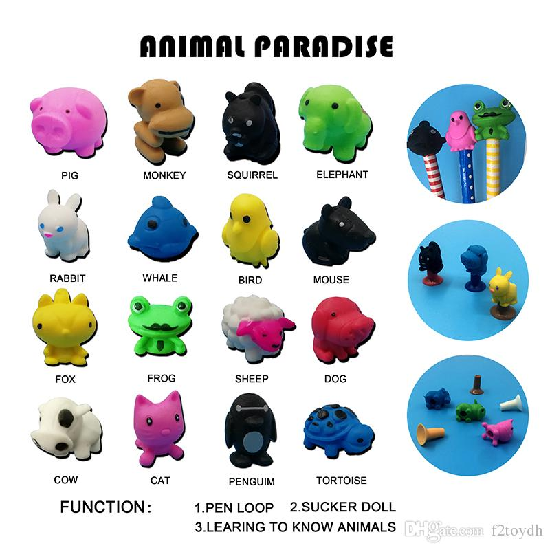 Cartoon Cute 16 Animals TPR Action Figure Model Pencil Topper Toy Penguins turtles Sucker Toys Gifts For Kids