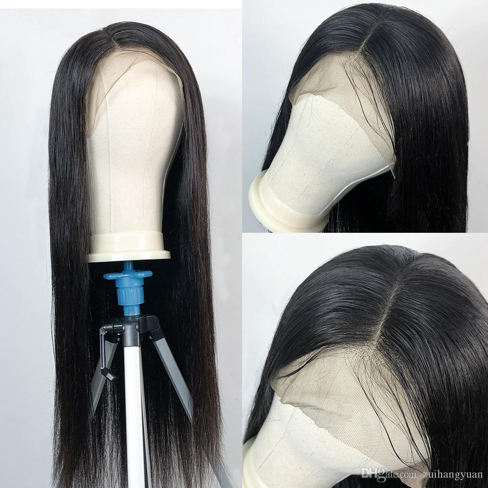 Las pelucas del frente del cordón sedoso pelucas llenas del pelo natural Negro 10A humano Remy de la Virgen china de encaje para mujer Negro