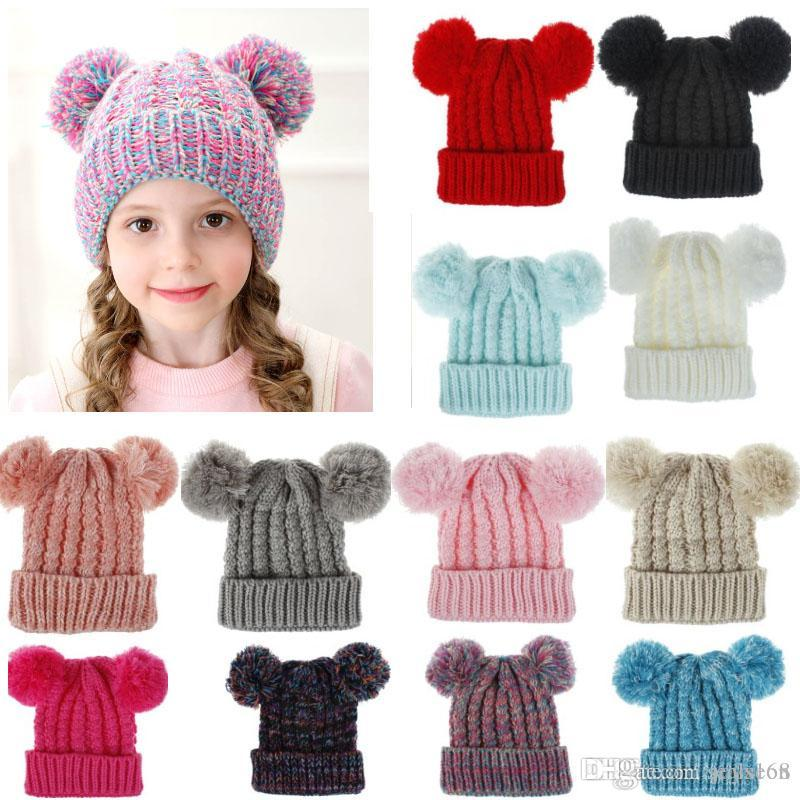 Children/'s Knit Hat Extra Large Double Ball Wool Hat Baby Hair Ball Warm Hat