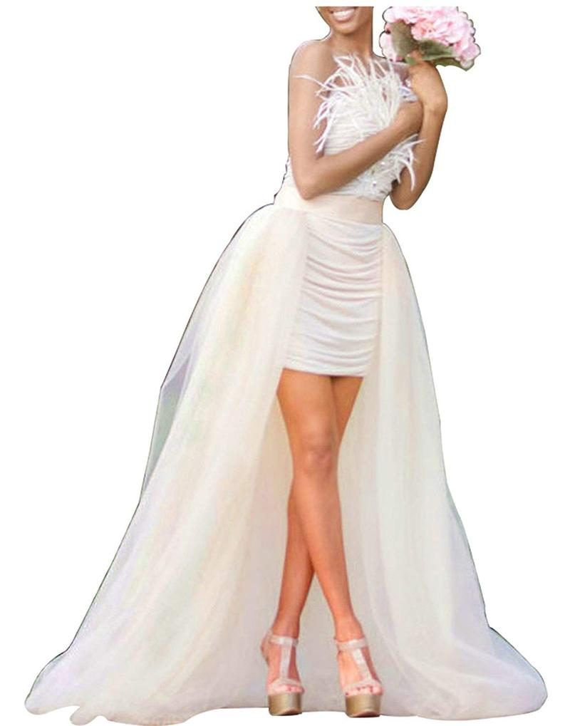 Women 4 Layers Long Tutu Tulle Skirt Women Skirt Maxi Wedding Bridal Tulle Skirts Detachable Train Overskirt Overlay Skirts Saia