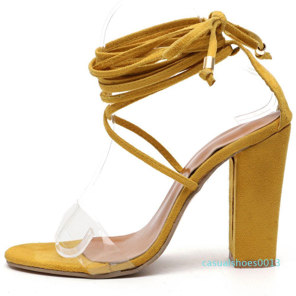 SARAIRIS 2020 Trendy Lace up Sandals Hot Sale Ins clássico alta Bloco Salto Sandals Mulheres Fashion Street Enrole Tornozelo Shoes Mulher c13