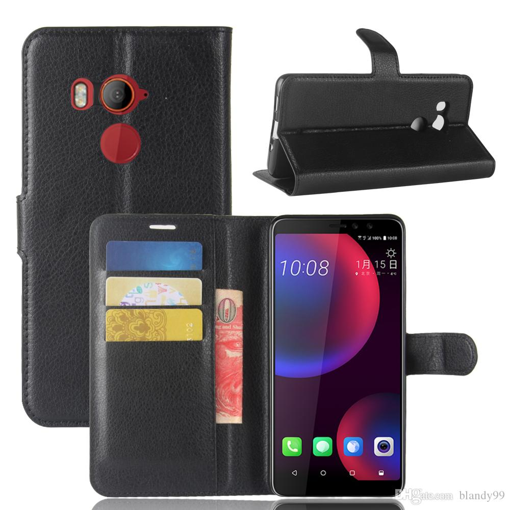 phone cases For HTC U11 U12 plus life Litchi lychee wallet flip leather phone cover Case For HTC desire 12 plus