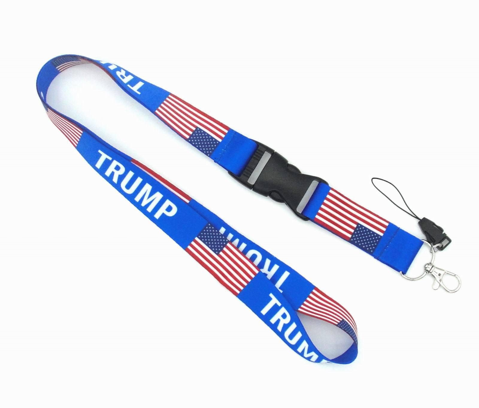 Bandeira americana TRUMP Correia de pescoço Lanyard para chaves ID Card Gym Mobile Phone Straps EUA badge chaveiro titular DIY corda FFA3771