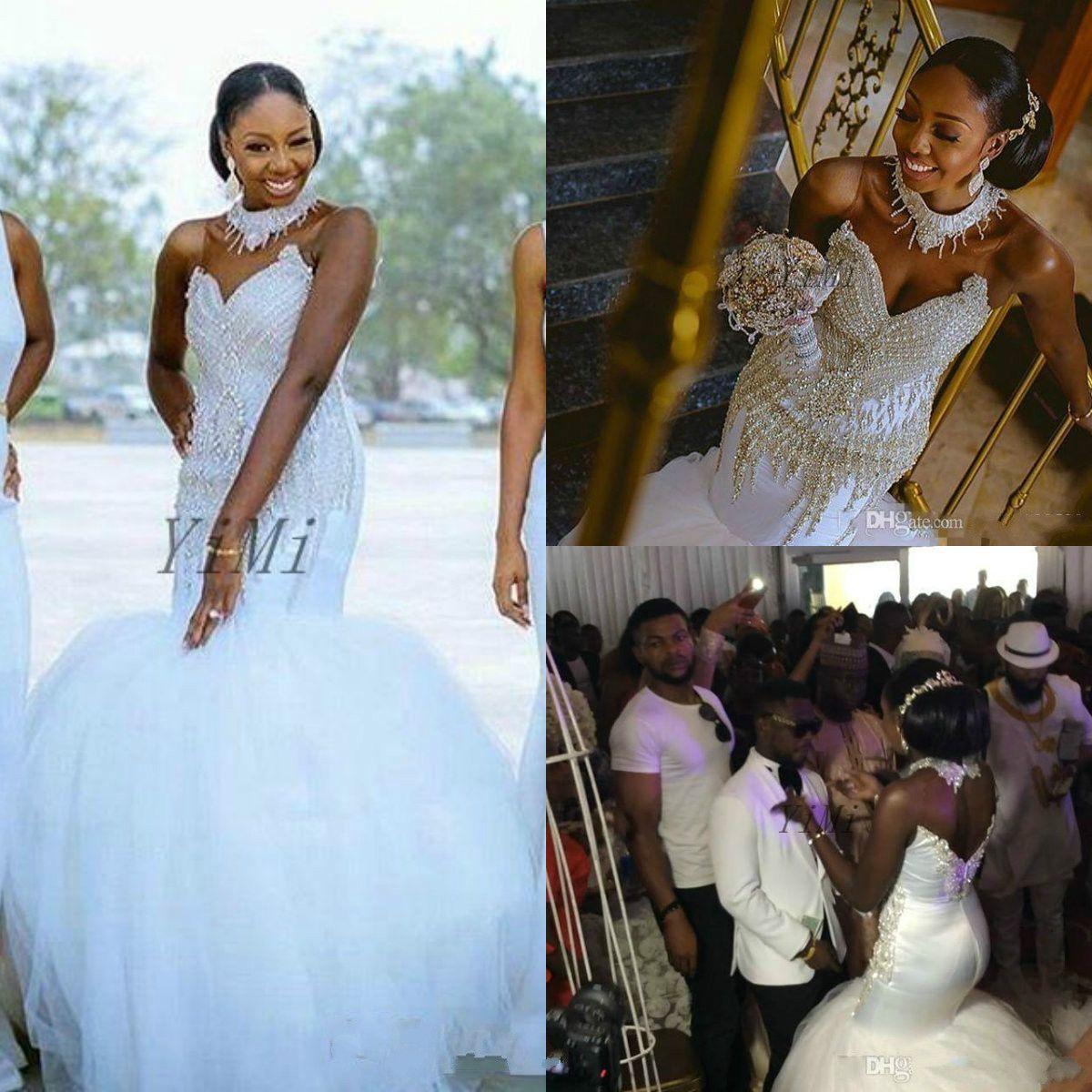 Crystal Mermaid Wedding Dresses 2019 See Through Court Train Appliques Major Beading African Chapel Garden Bridal Gowns vestido de novia