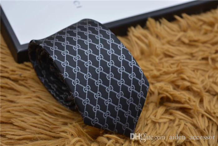 럭셔리 남성 넥타이 7 센치 메터 격자 무늬 체크 스트라이프 실크 넥타이 자카드 짠 목 넥타이 정장 비즈니스 웨딩 파티 넥타이 상자