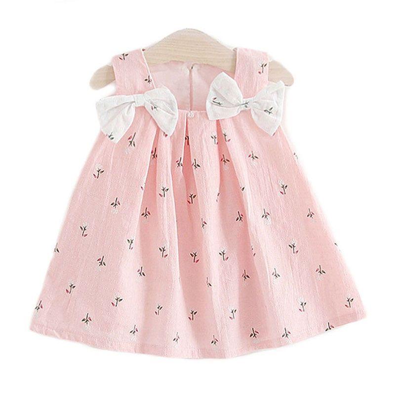 Novo Verão Crianças Roupas Bebê Meninas Vestidos Suspensórios Imprimir Bow Colete Vestido Crianças Roupas Frete Grátis