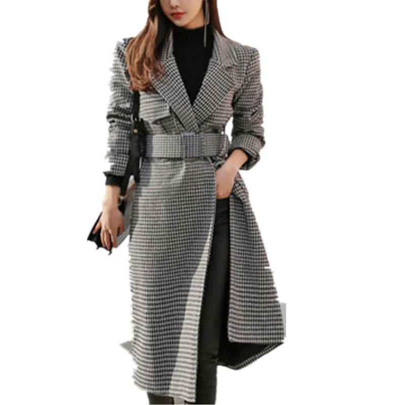 Sonbahar kış Kadınlar Ekose wooeln Coat Yeni Moda Uzun İnce Tipi Kadın Kış Ceketler Kadın Dış Giyim
