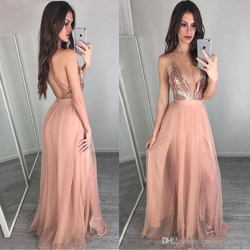 Roupas Para Casamento Sexy Rose Gold Barato A Linha De Vestidos De Baile Sexy Profundo Decote Em V Tule Rosa Longo Prom Vestidos Glamorous Backless