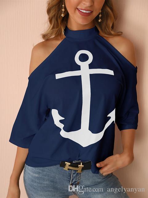 2019 été femmes élégant licol décontracté tshirt femme loisirs base haut épaule froide bateau ancre imprimer t-shirt
