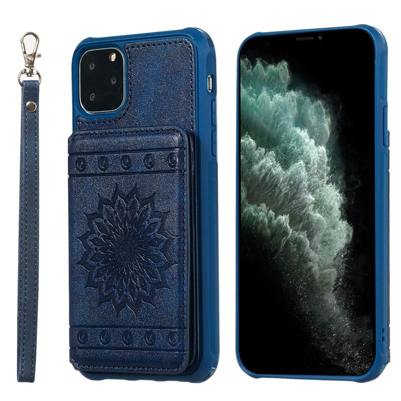 De lujo delgada de la PU billetera de cuero caso del iPhone para 11/11 Pro Ranura para tarjeta a prueba de golpes pata de cabra de teléfono para el iPhone 11 Pro Max
