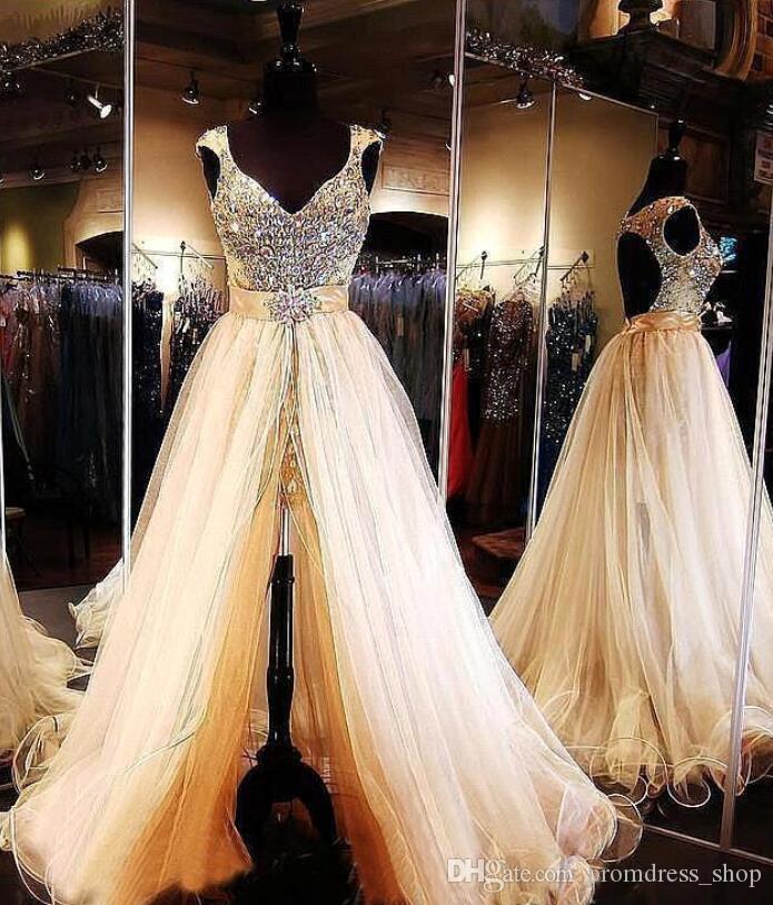 2020 luxe Paillettes perles de bal Pageant Robes de Mariée avec Amovible train Ouvert sans dossier Voir Par soirée Robes de soirée formelle de robe