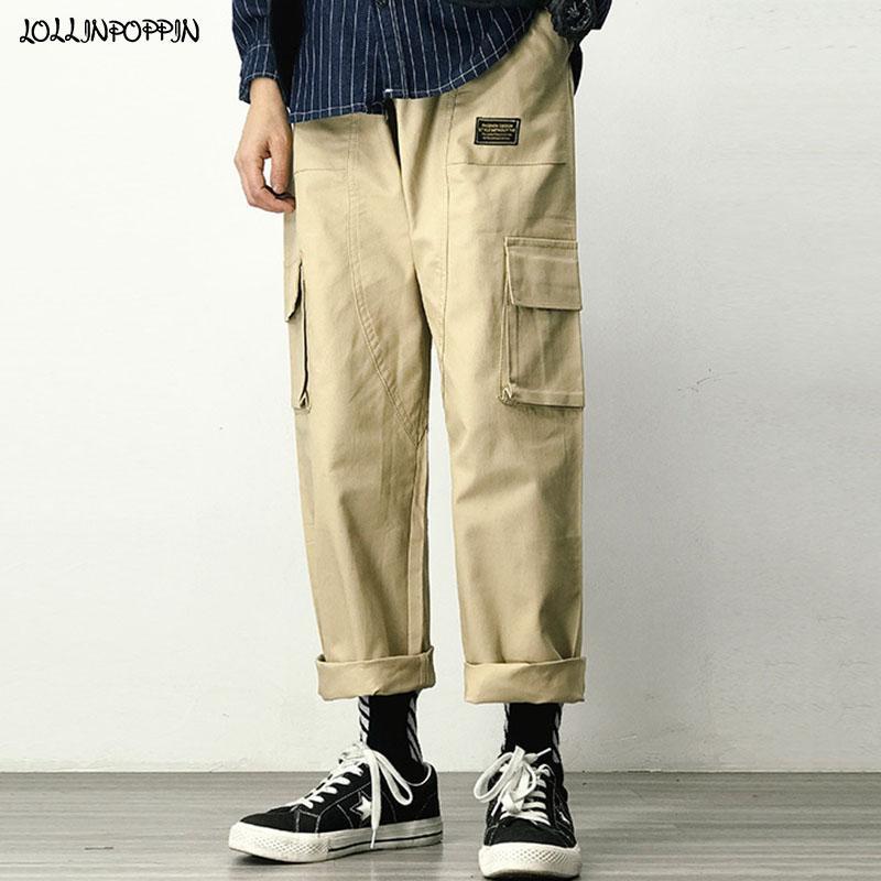 Pantalones rectos Fit cargo de los hombres con cordón elástico de la cintura Multi-bolsillos para hombre del estilo de Japón pantalones casuales de color caqui / Negro / verde del ejército