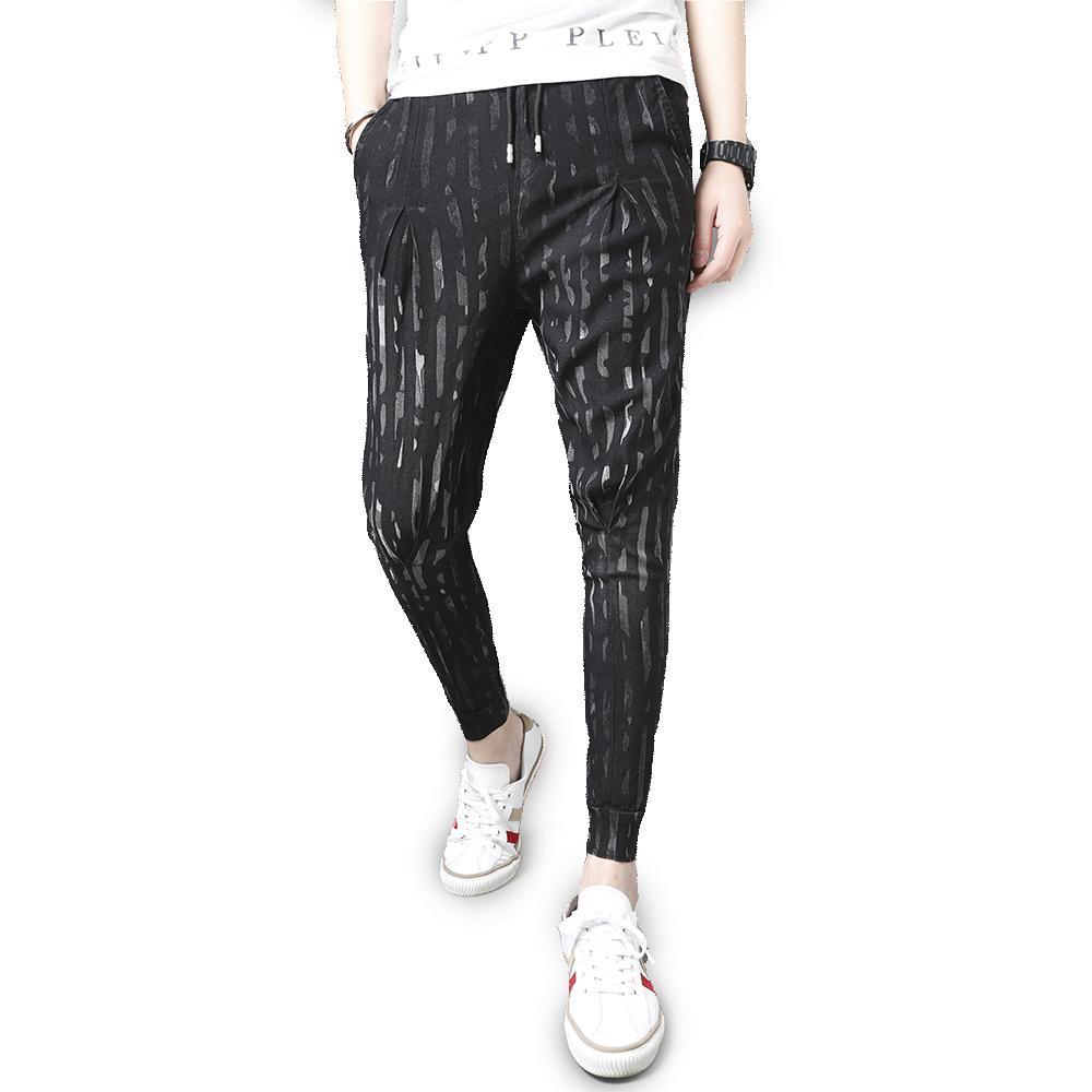 Men's Pants 2021 Men Summer Streetwear Harem Drop Crotch Casual Striped All Match Trousers Joggers Black 36-29