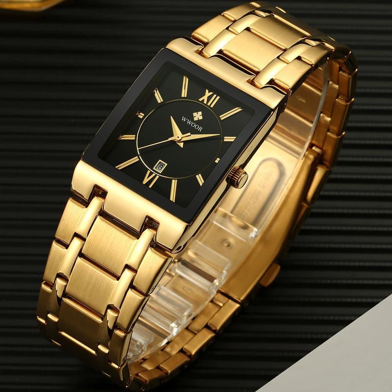 Мужчины Часы Top Brand Luxury WWOOR Золото Черный квадрат кварцевые часы мужчин 2019 Водонепроницаемый Золотой Мужской Часы наручные Мужские часы 2019 CJ191213