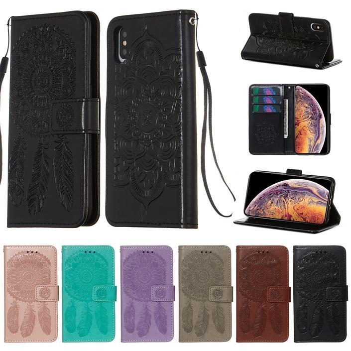 Mandala кошелек кожаный чехол для Iphone 12 11 PRO MAX X XS XR SE 2020 SE2 8 7 6 PLUS 6S цветок ремешок Рельефный Ловец снов Стенд телефон Обложка